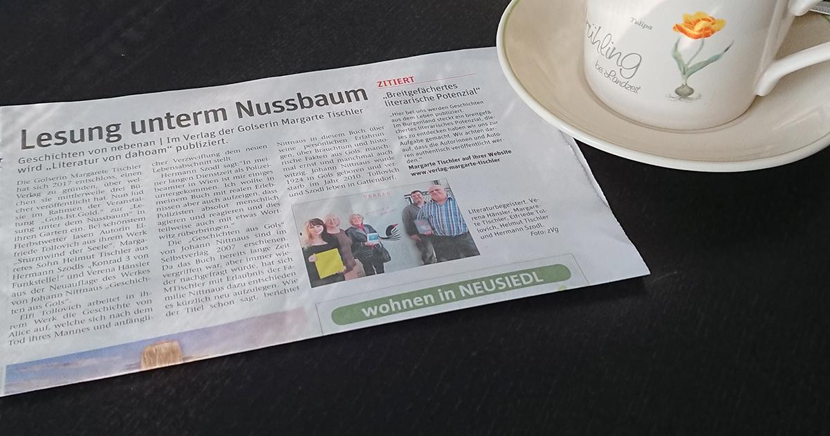 """""""Lesung unterm Nussbaum"""" in den Zeitungen!"""